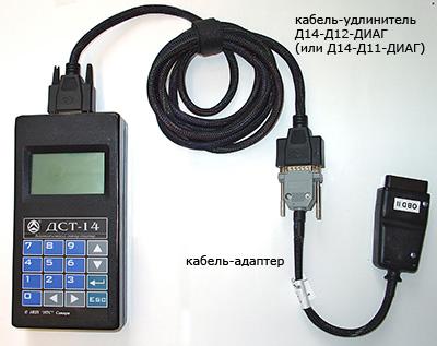 Автомобильный диагностический сканер тестер ДСТ-14 подключение к автомобилю